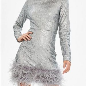 Silver sequin faux fur party